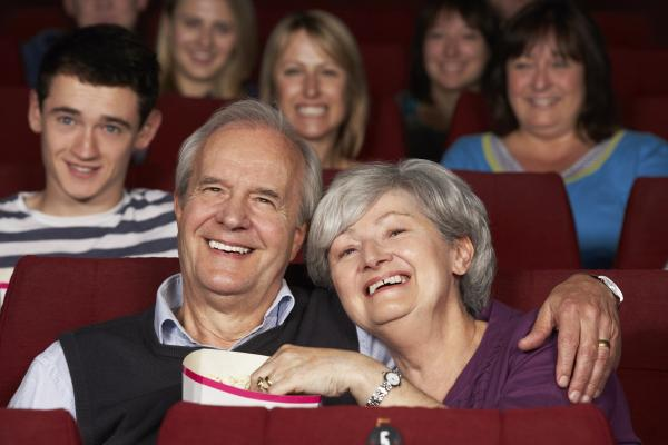 Watching a movie in a cinema