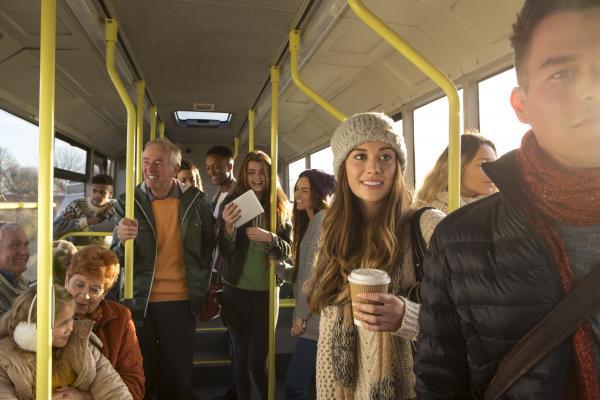 I den offentlige transport